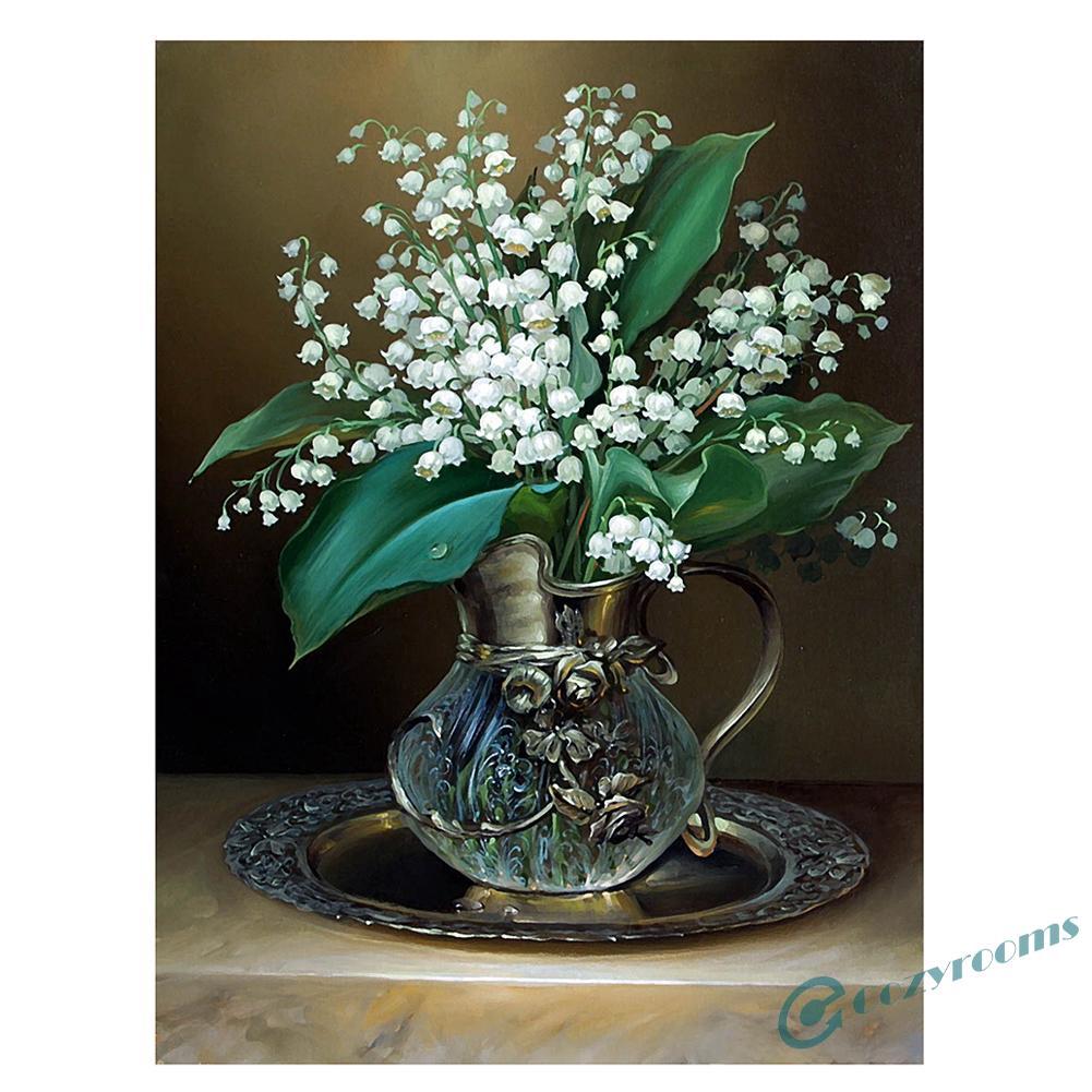 DIY Lukisan Diamond 5D Dengan Gambar Vas Bunga Lily Ukuran 30x40cm Untuk Hiasan Dekorasi Rumah