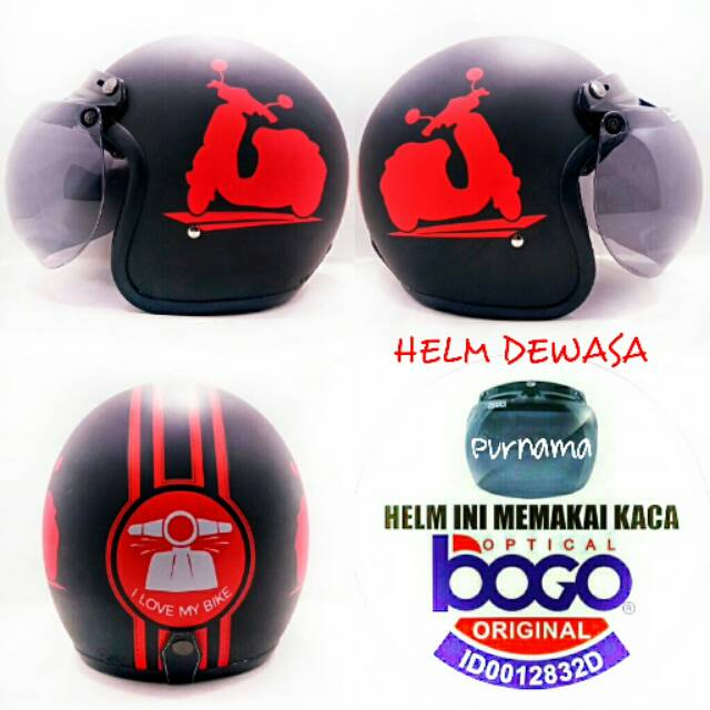 ... Full Synthetic Leather Dewasa / Remaja + Kaca Mata - Biru. Source · Helm Bogo Retro Vespa putih dasar pink soft kaca bogo original | Shopee Indonesia