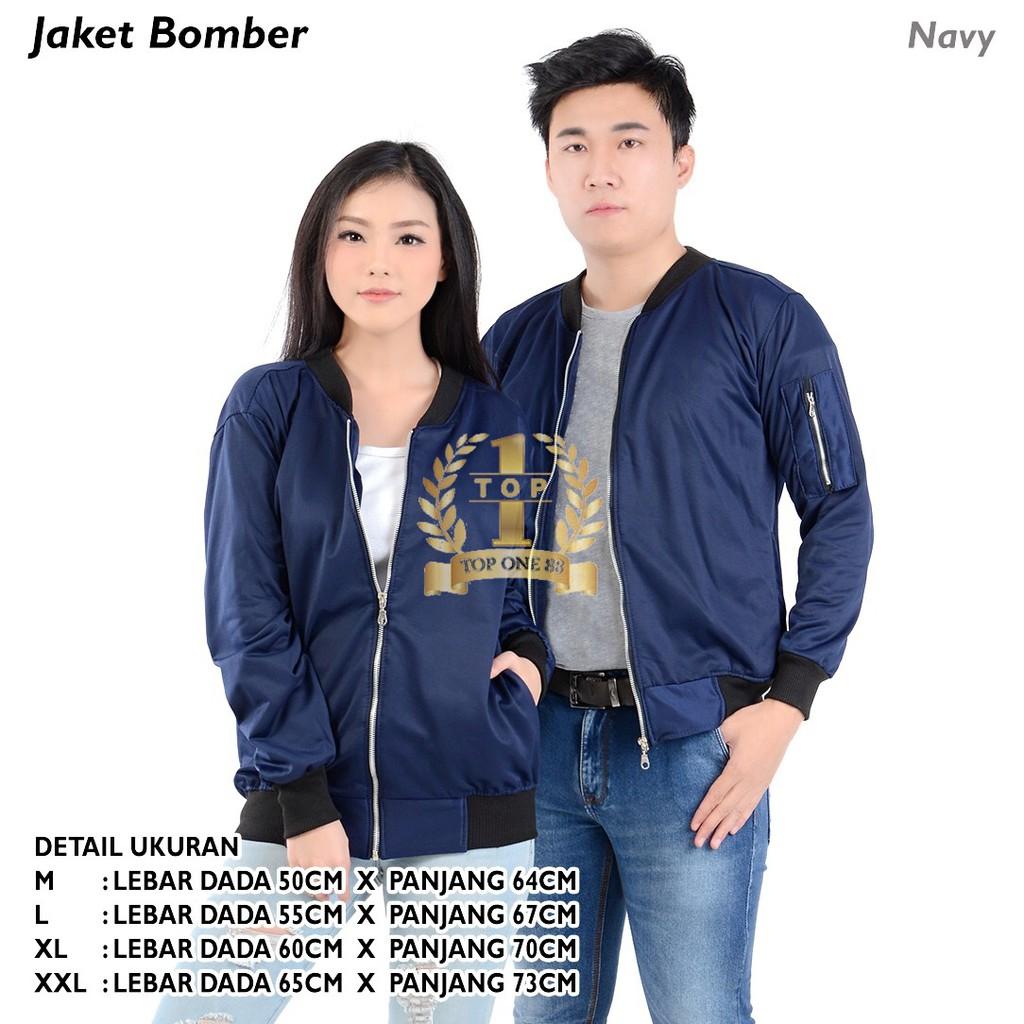 Topone88 Jaket Bomber Unisex Nevy Shopee Indonesia Boomber Blue Navy