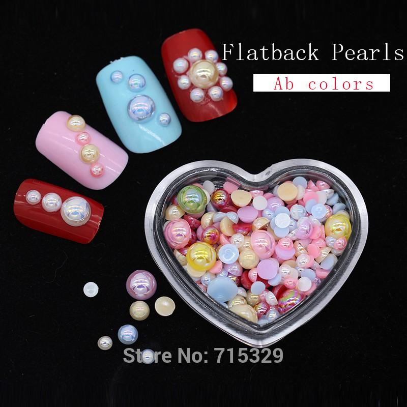 Flatback Half Pearl Round Scrapbooking Nail Art Craft Dark Blue 2mm - 12mm