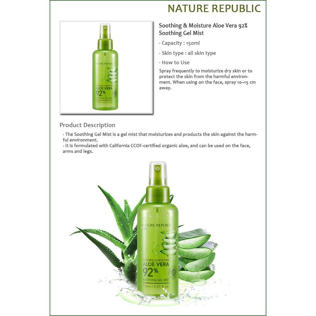 100 Original Nature Republic Soothing Gel Aloe Vera 92 Shopee Indonesia