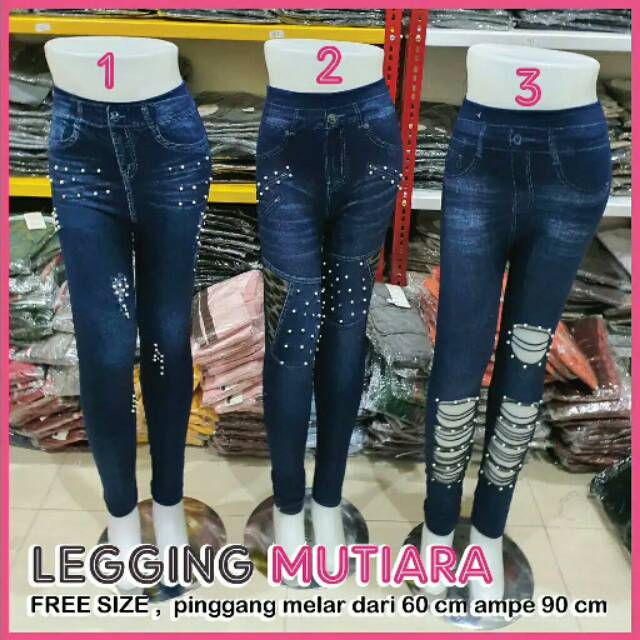 Legging Semi Jeans Mutiara Tembak Melar Fit Xl Premium Shopee Indonesia