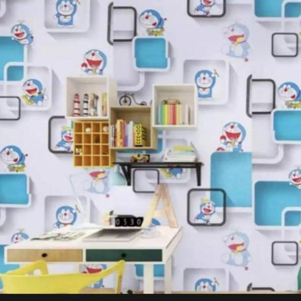 Yr Wallpaper Dinding Doraemon Kotak 3d Ukuran 45cm 10m Shopee Indonesia