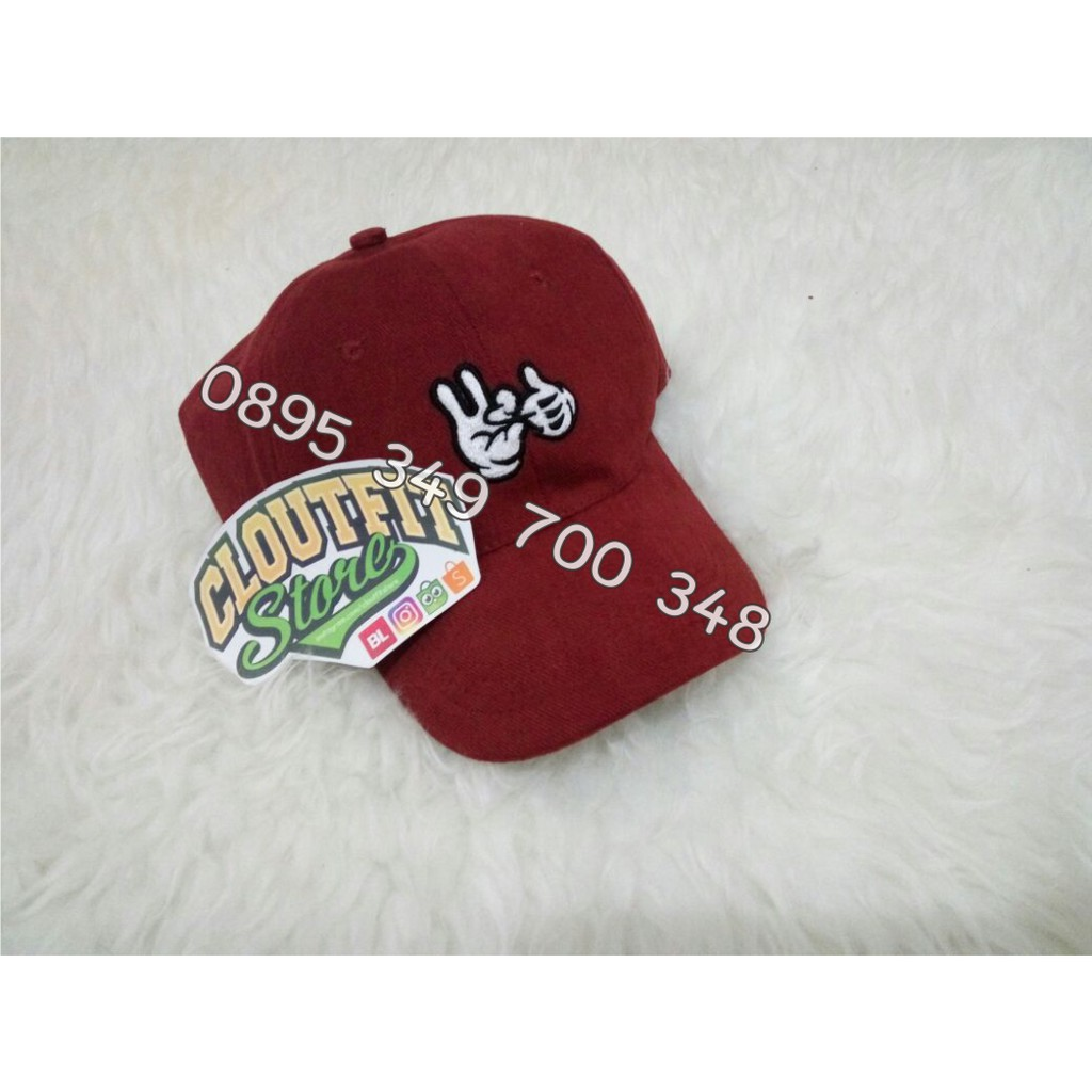 Topi Baseball Mickey Hand Tangan Jempol Telunjuk Custom Bordir Premium  1ea7f3c916
