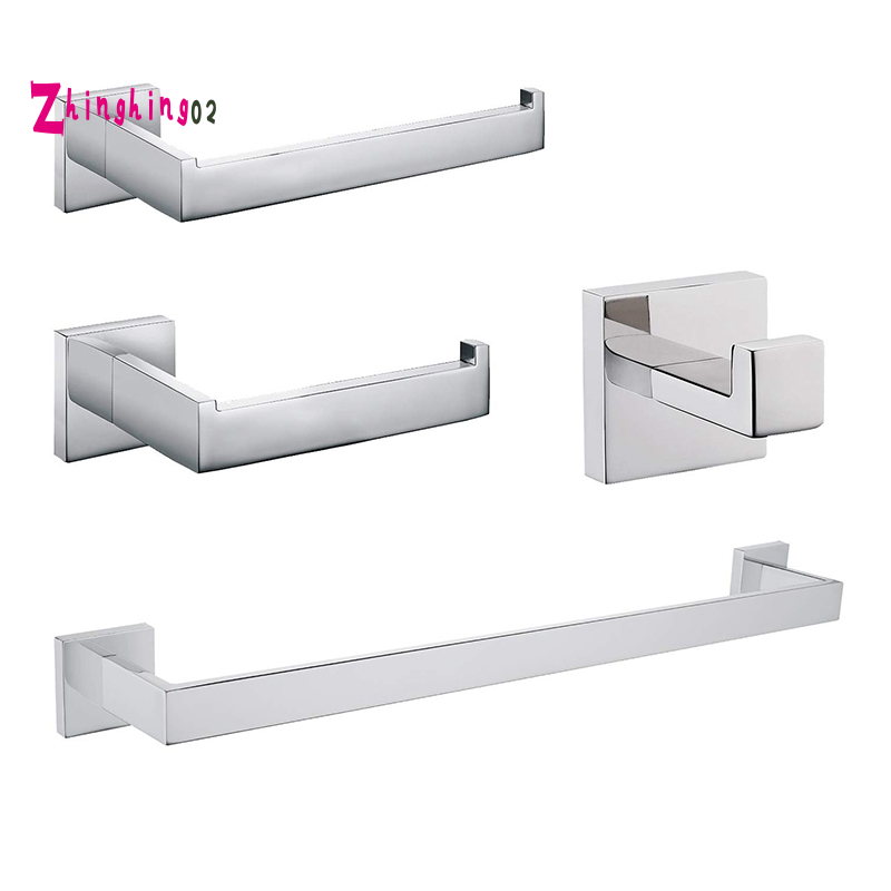 Chrome Bathroom Hardware Accessory Set Including Towel Bar Toilet Paper Holder Towel Holder Robe Hook Premium Sus304 Stainless Steel Wall Mounted Square Style Shopee Indonesia