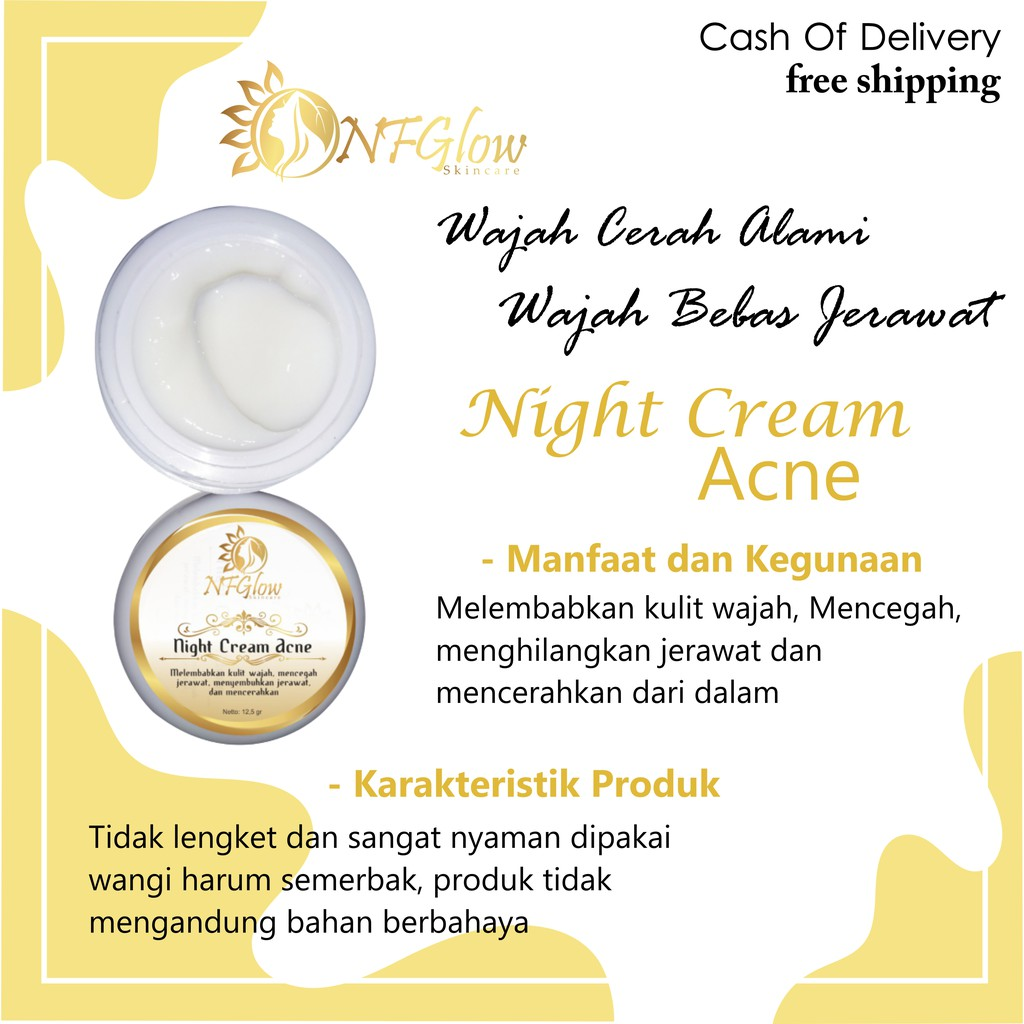 COD Night Cream Acne Cream Malam/ Krim Malam Jerawat ...