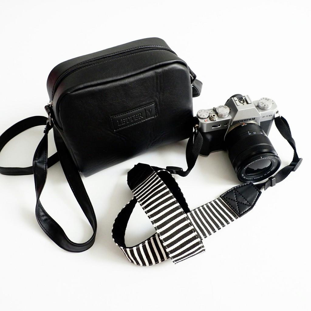 Strap And Bag Camera Banana Tali Kamera Tas Dslr Slr Mirorrless Canvas Universal Shopee Indonesia