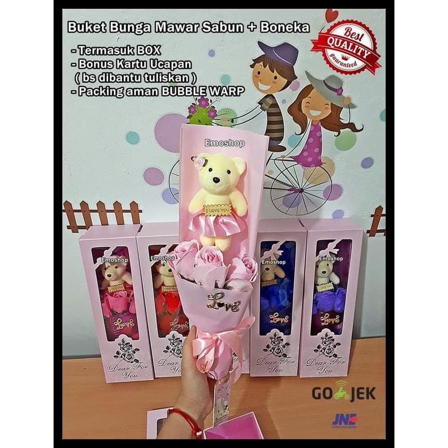 TERBARU HOT SALE BOUQUET 3 ROSE FLOWER SOAP + BEAR IN BOX bd75b5fc61