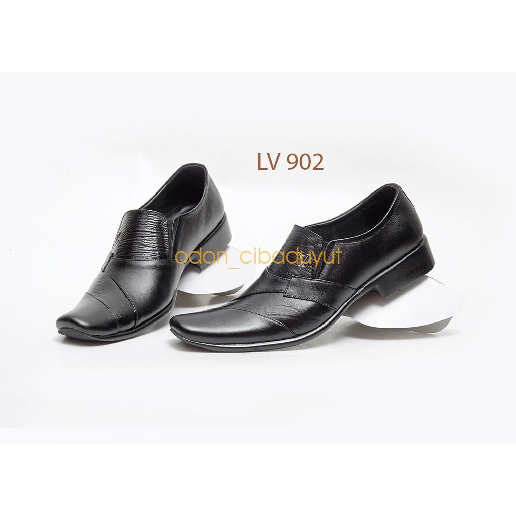 Sepatu Pantofel Pria Formal Kulit Asli Pria LV902 Full HItaM | Shopee Indonesia