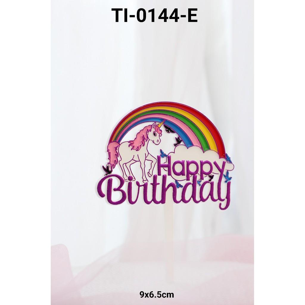 Ti 0144 E Cake Topper Tulisan Happy Birthday Unicorn Pelangi Ungu Shopee Indonesia