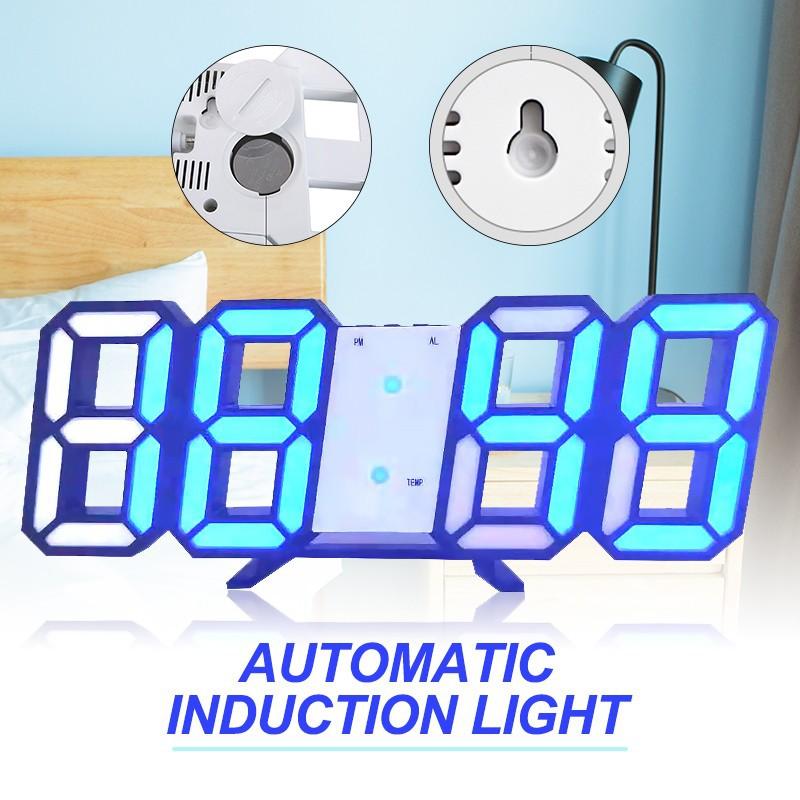 Blue LED Digital Large 3D Table Wall Clock Dimmer Alarm Snooze Home Decor USB DC