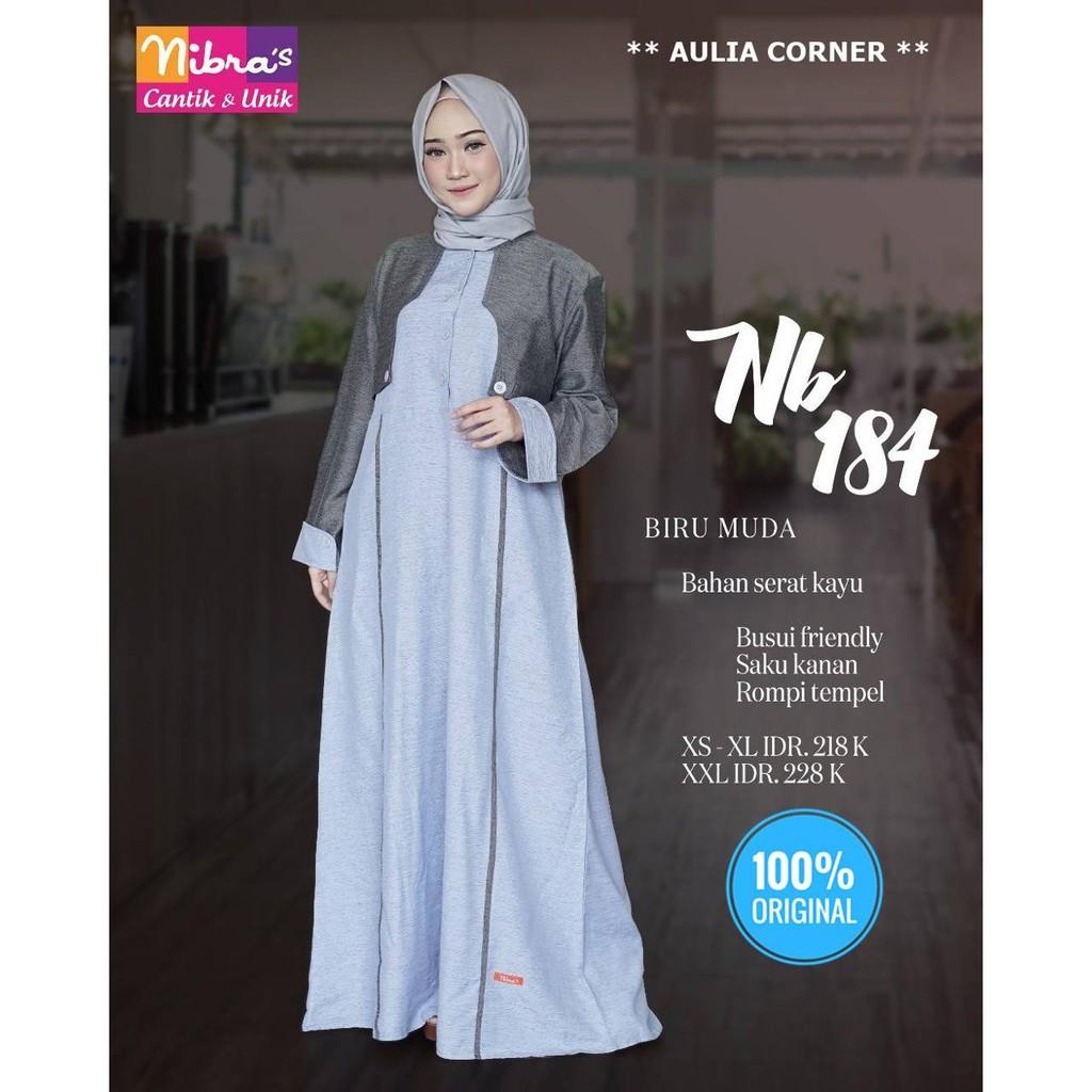 Baju Gamis Polos Remaja Gamis Terbaru Nibras Nb 11 Biru Muda ORIGINAL  Desain Elegan