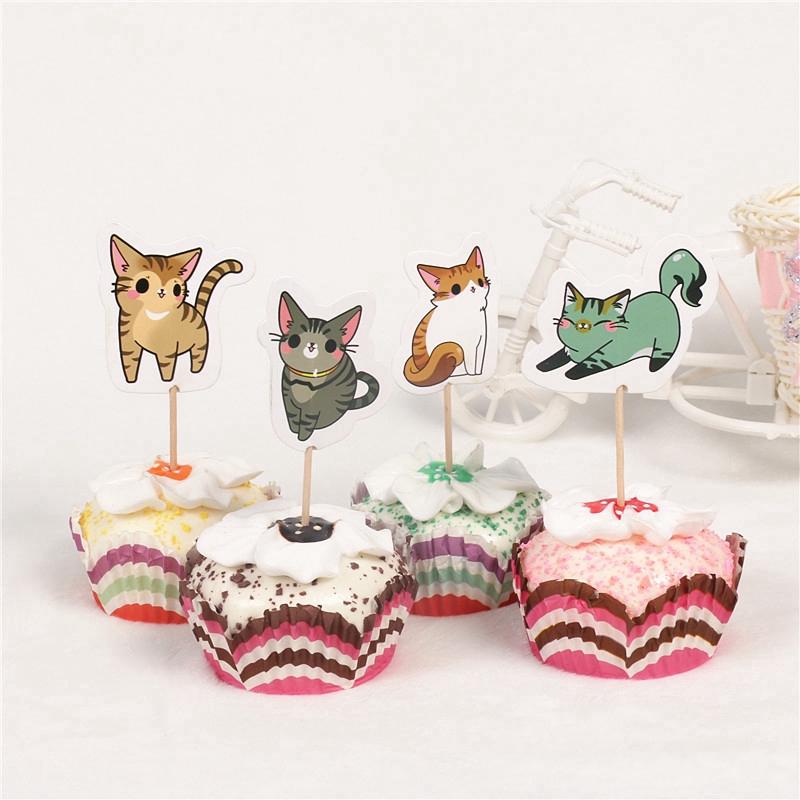 24 Pcs Lot Lucu Kucing Tema Cupcake Topper Wedding Party Dekorasi Kue Ulang Tahun