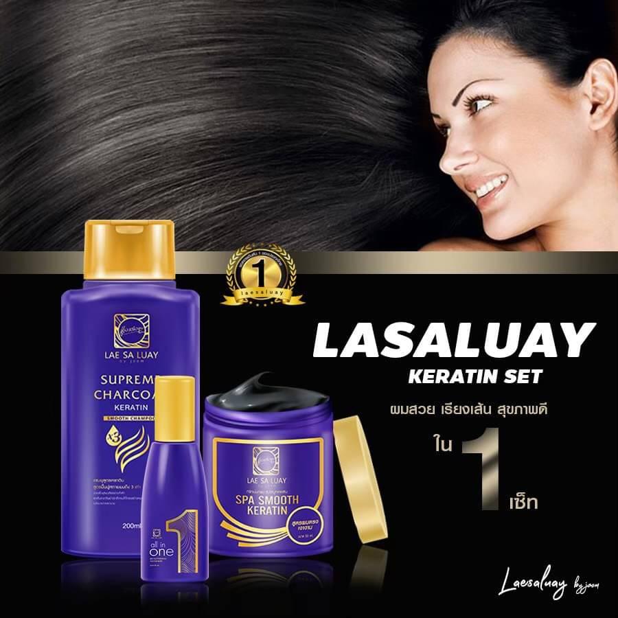 BPOM Lae Sa Luay Supreme Charcoal Smooth Shampoo / Shampo Kondisioner 200ml-6