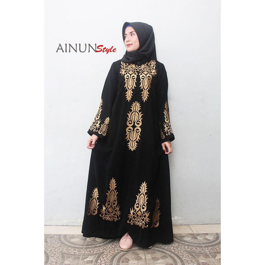 HQ Abaya model saudi, gamis hitam bordir, abaya hitam, baju pesta, busana  muslimah Ainun Style
