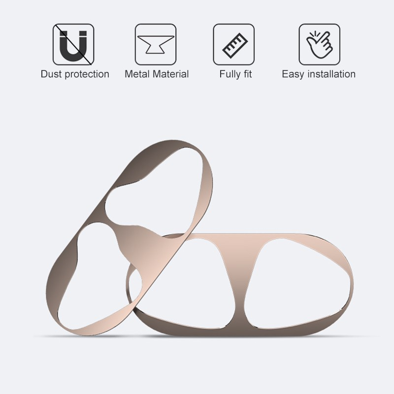 Plating Dustproof Metal Protection Sticker Cover Set Dust Guard for Airpods Charging Case Set of 2 Bluetooth Headset Dust Sticker for Apple AirPods