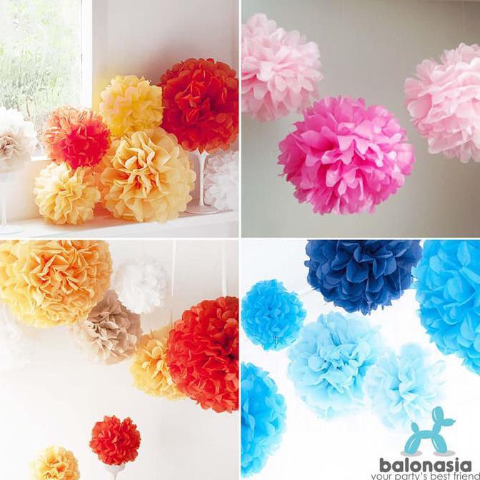 Balonasia 2 pcs Dekorasi Pesta Tissue Paper Pom Poms Flower Ball 30cm ... Source