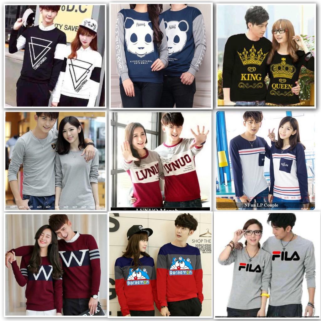 terlaris kaos couple / baju couple lengan panjang murah vstrip   Shopee Indonesia