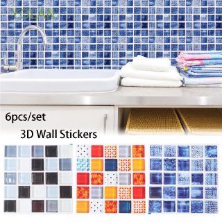 Yolan 6pcs Set Kitchen Bathroom 3d Tile Sticker Mural Wall Decals Shopee Indonesia