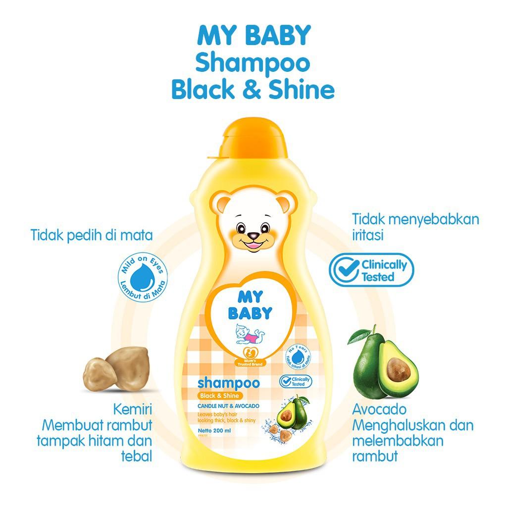 MY BABY Shampoo Bayi Rambut Lembut Soft & Smooth Shampoo Bayi Black & Shine 200 ML-Black & Shine