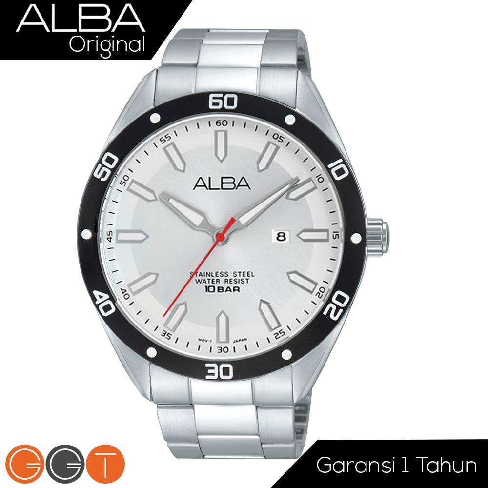 Alba Analog Silver Tali Stainless Steel Jam Tangan Pria AXHK97X1 | Shopee Indonesia