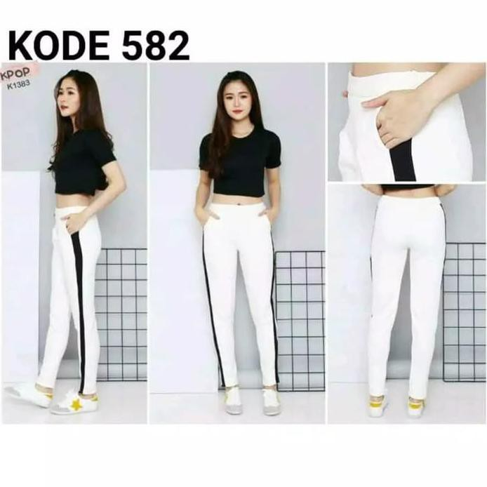 Michellestore Celana Legging Wanita Super Stretch List Samping Putih L Shopee Indonesia