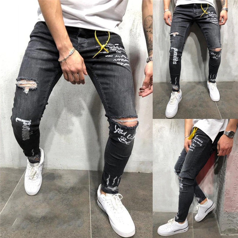 2019 New Mens Brand Jeans Fashion Men Casual Slim fit Straight High Stretch | Shopee Indonesia