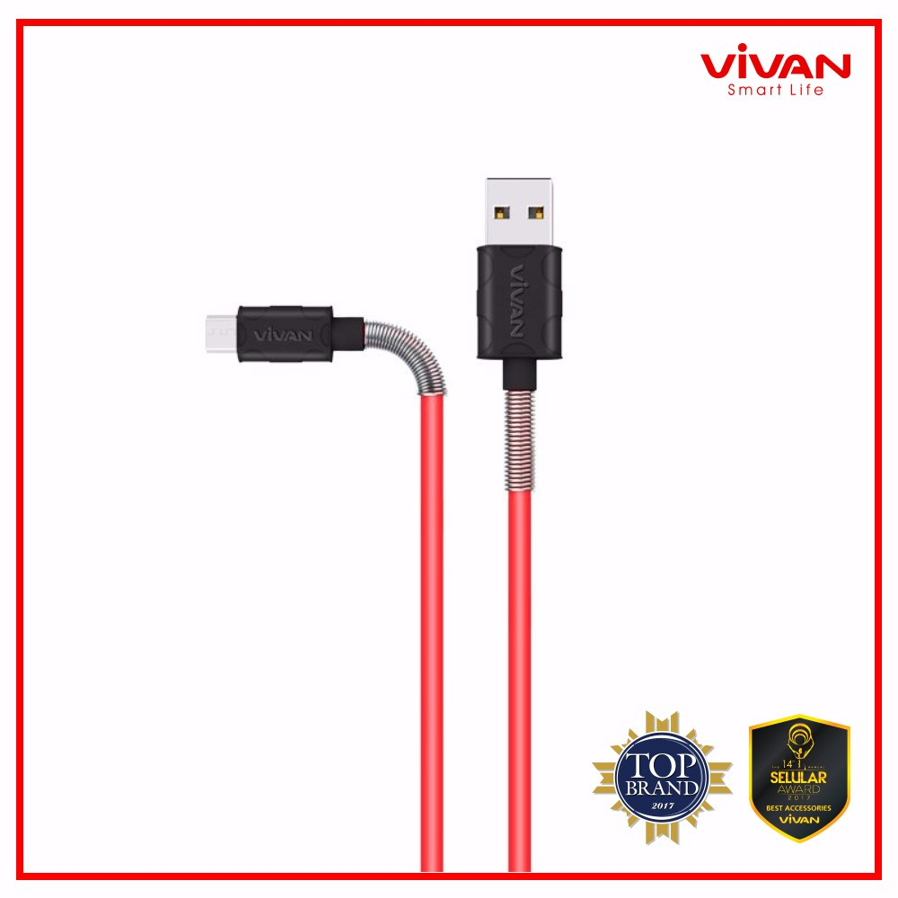 Up To 27 Discount From Vivan Official Shop Power Oval 2a Output Single Usb Charger White Fm100 24a 1m Spring Micro Data Cable For Android Black Red