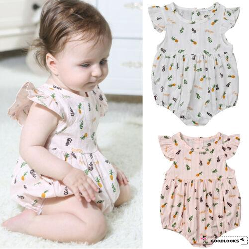 Cute Toddler Newborn Baby Girl Clothe Outfit Bodysuit Romper Kid Jumpsuit Summer