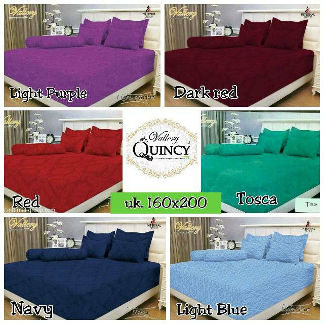 Sprei T30 Extra King Emboss Vallery Quincy Red merah 200x200 tinggi 30cm | Shopee Indonesia