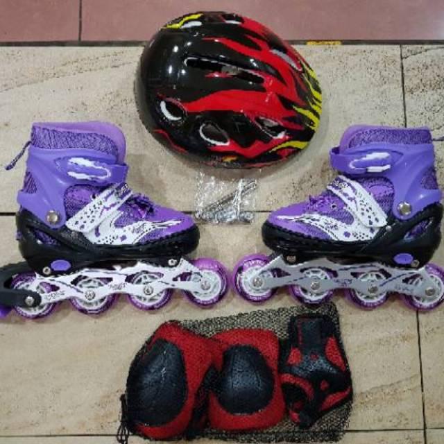 Jual Sepatu Roda Anak Fullset Body Protecktor Helm Inline Skate ... a7c9ce042f