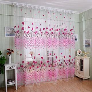 Tirai/Gorden Jendela Rumah Motif Bunga Tulip Transparan Bahan Kain Pual Transparan Warna Pink