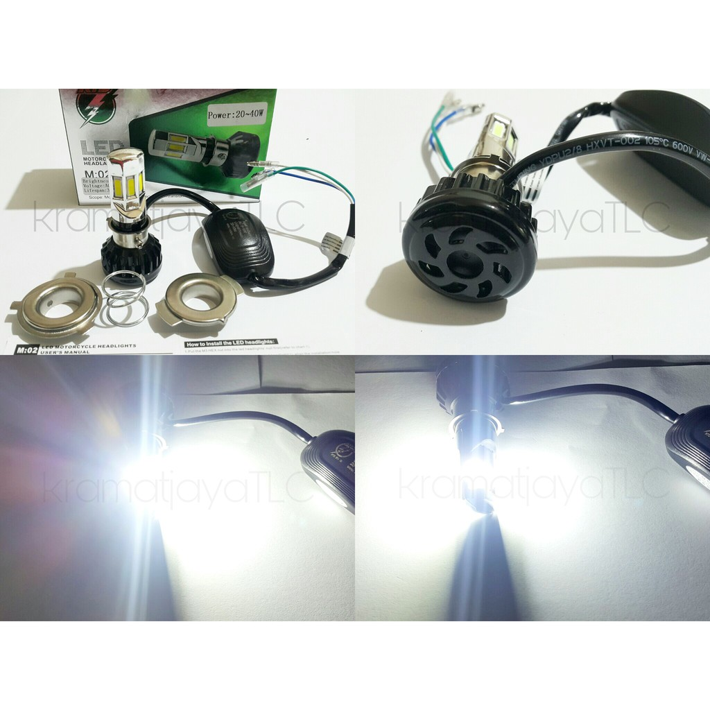 Lampu Utama Headlamp New Led 6 Sisi Rtd M02e 40 Watt Kipas Ac Dc Motor 3 Putih Shopee Indonesia