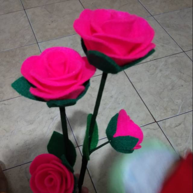 Bunga Mawar Kain Flanel Pokok Telok Bunga Telur Bunga Pahar