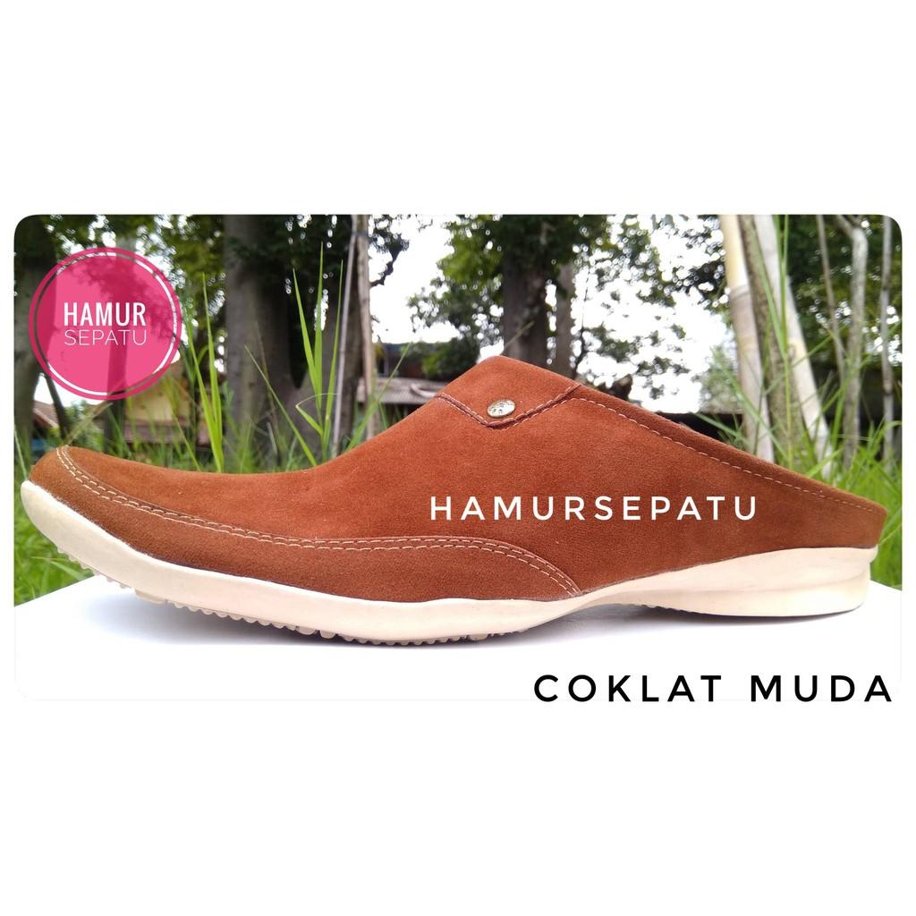 SEPATU SELOP PRIA KULIT SAPI ASLI CROCODILE SI2- Hitam dan Coklat   Shopee Indonesia