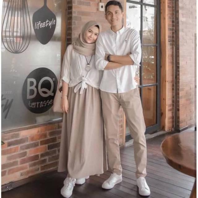 41 Gambar Baju Couple Muslim Remaja 2019 Kekinian