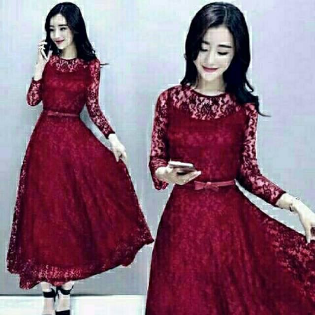 Dress Long Shaby Merah Marun Gaun Wanita Red Maroon Imlek Natal Pesta Kasual Panjang Brukat Furing