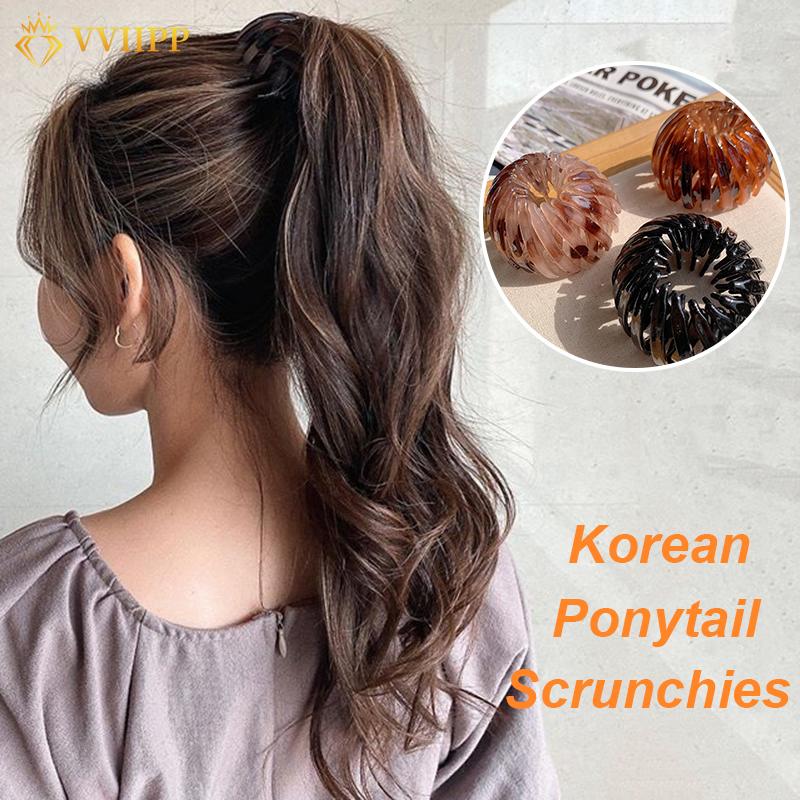 Ikat Rambut Ponytail Bahan Plastik Gaya Retro Korea Untuk ...