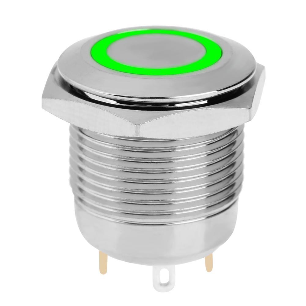 12 V LED Panel Saklar Pengapian Mesin Mulai Tombol Tekan Hitam. Source · 16 MM