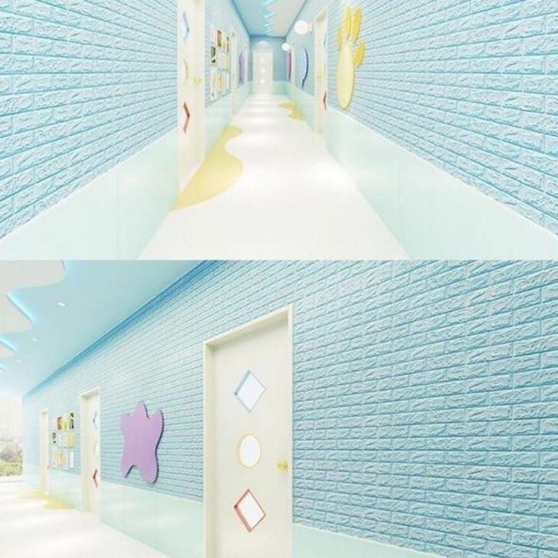 wallpaper brick foam 3d motif bata biru