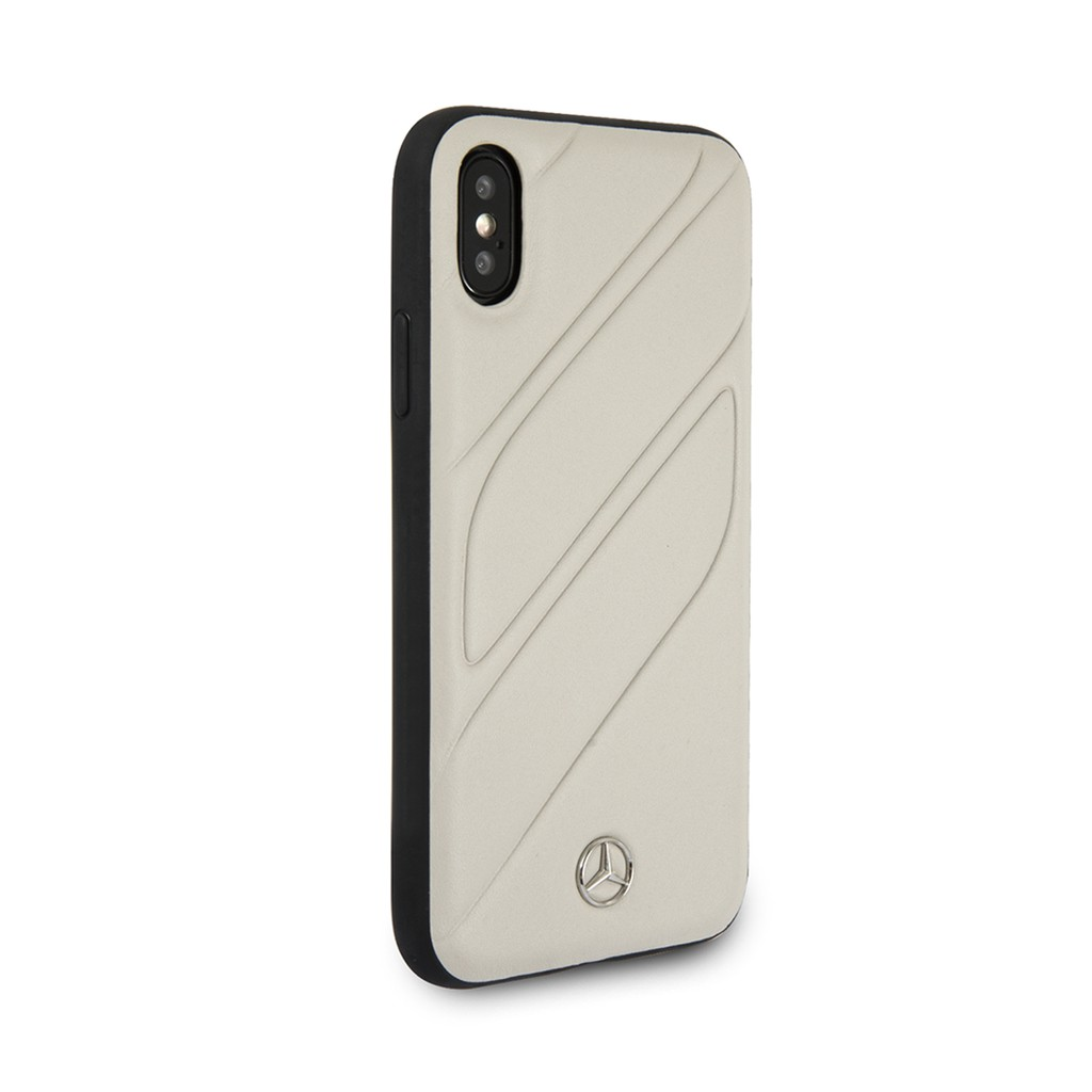 MERCEDES BENZ NEW ORGANIC I LEATHER SILICONE CASE IPHONE X XS GRAY