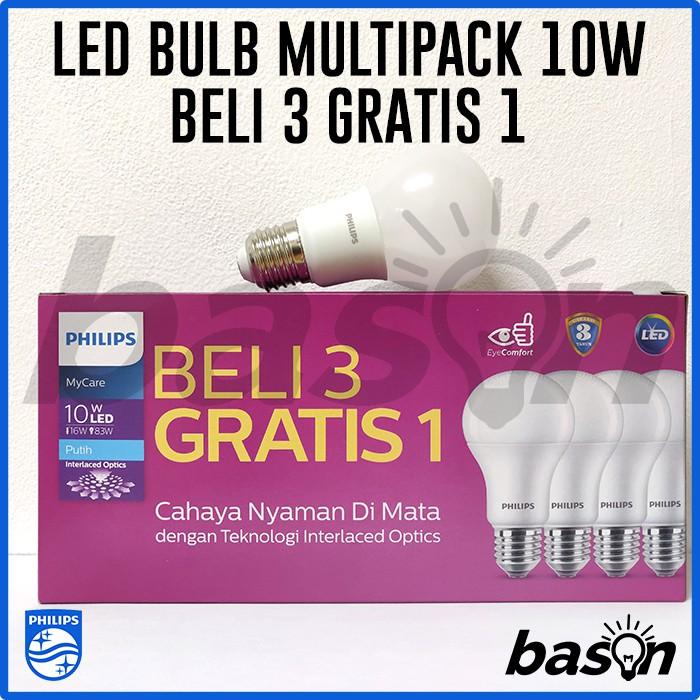 PHILIPS MyCare LED Bulb Paket Multipack 6W Putih - isi 4bh   Shopee Indonesia