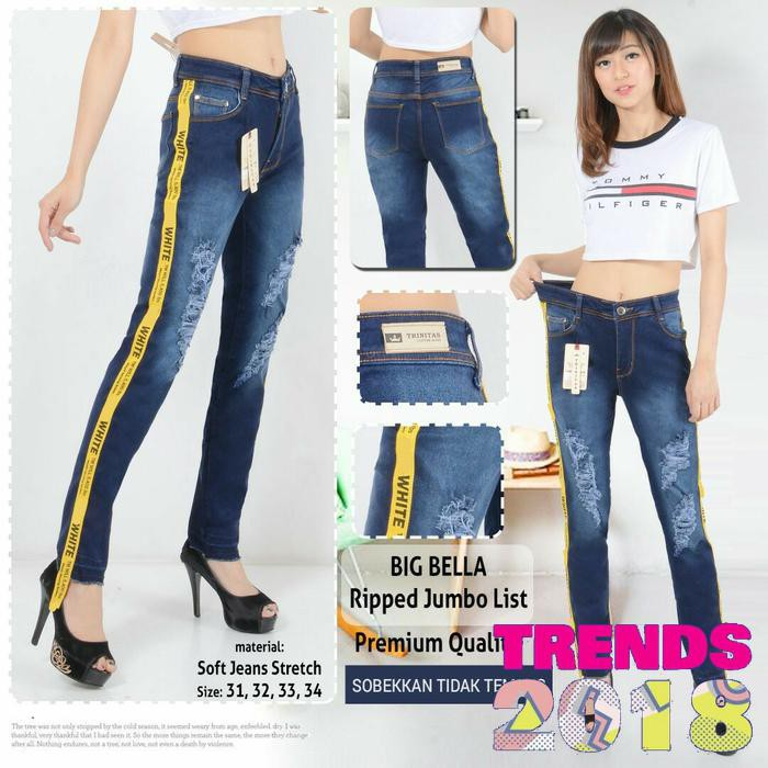 celana wanita jeans big bella ripped jumbo pita offwhite | Shopee Indonesia