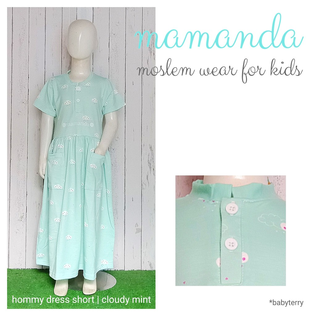 Dress Anak Cloudy Mint Hommy Dress Short by Mamanda