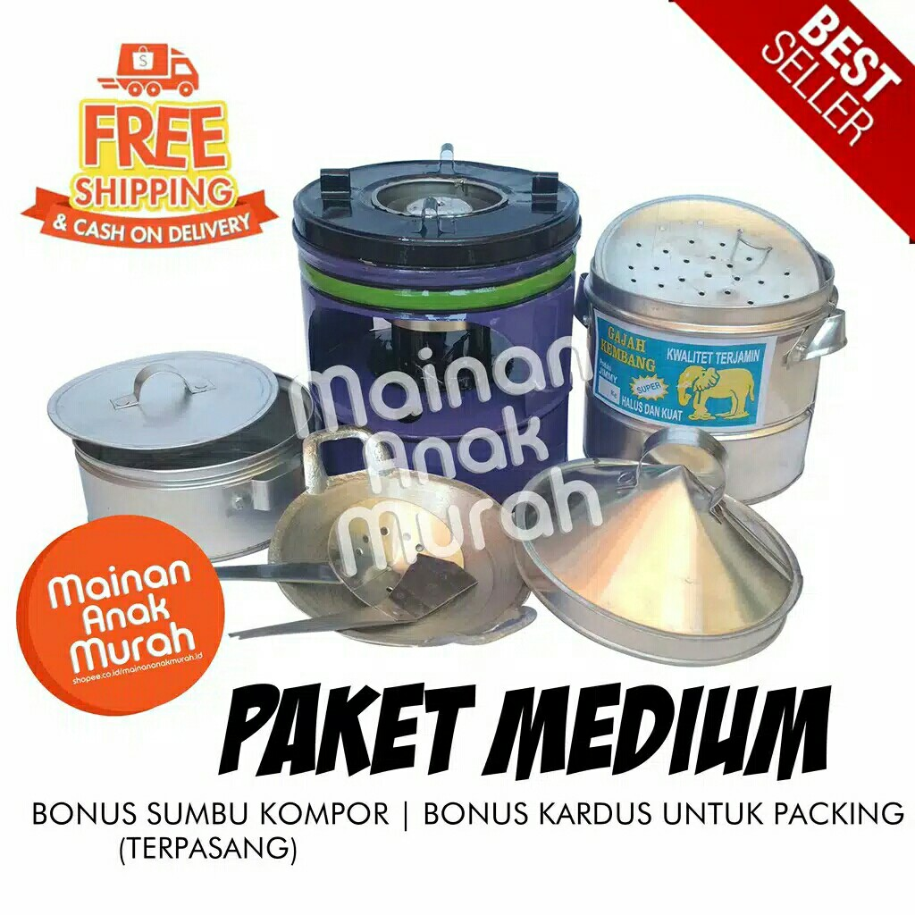 Paket Kompor Mainan Mini Masak Masakan Anak Jadul Tradisional Dari Logam Alumunium Tiny Cooking Shopee Indonesia