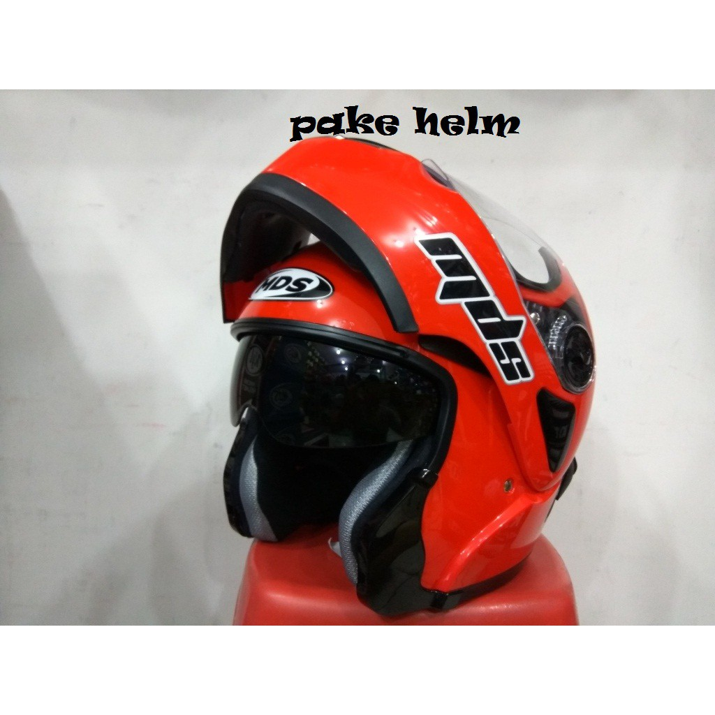 Helm Mds Super Pro Superpro Solid Yellow Fluo Moto Supermoto Motif Shopee Indonesia