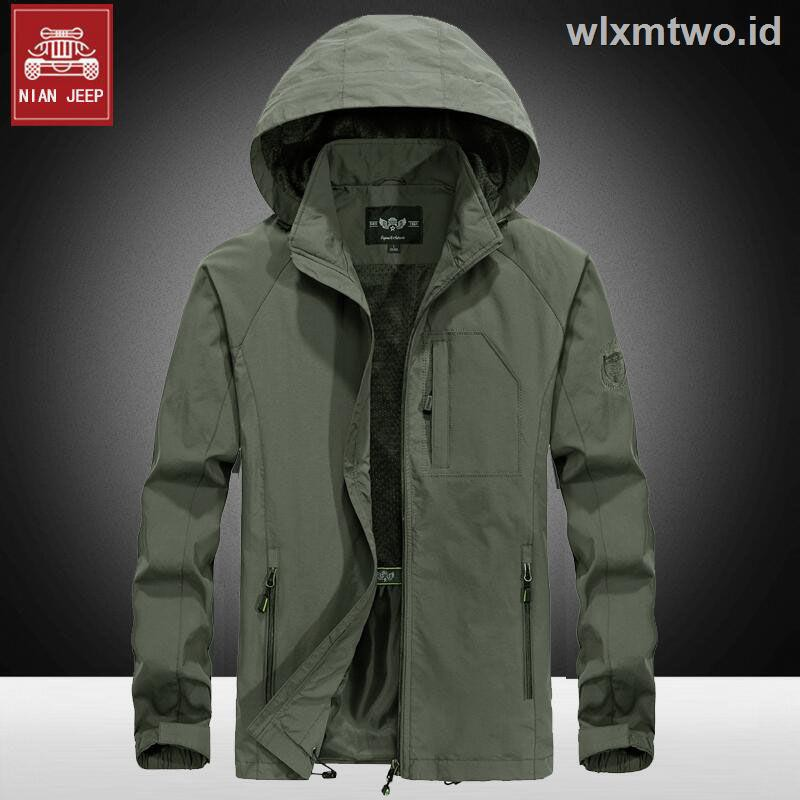 NIAN Sports Jacket Men Spring and Autumn Mens Thin Jacket Casual Hooded Outdoor Color : Brown, Size : L