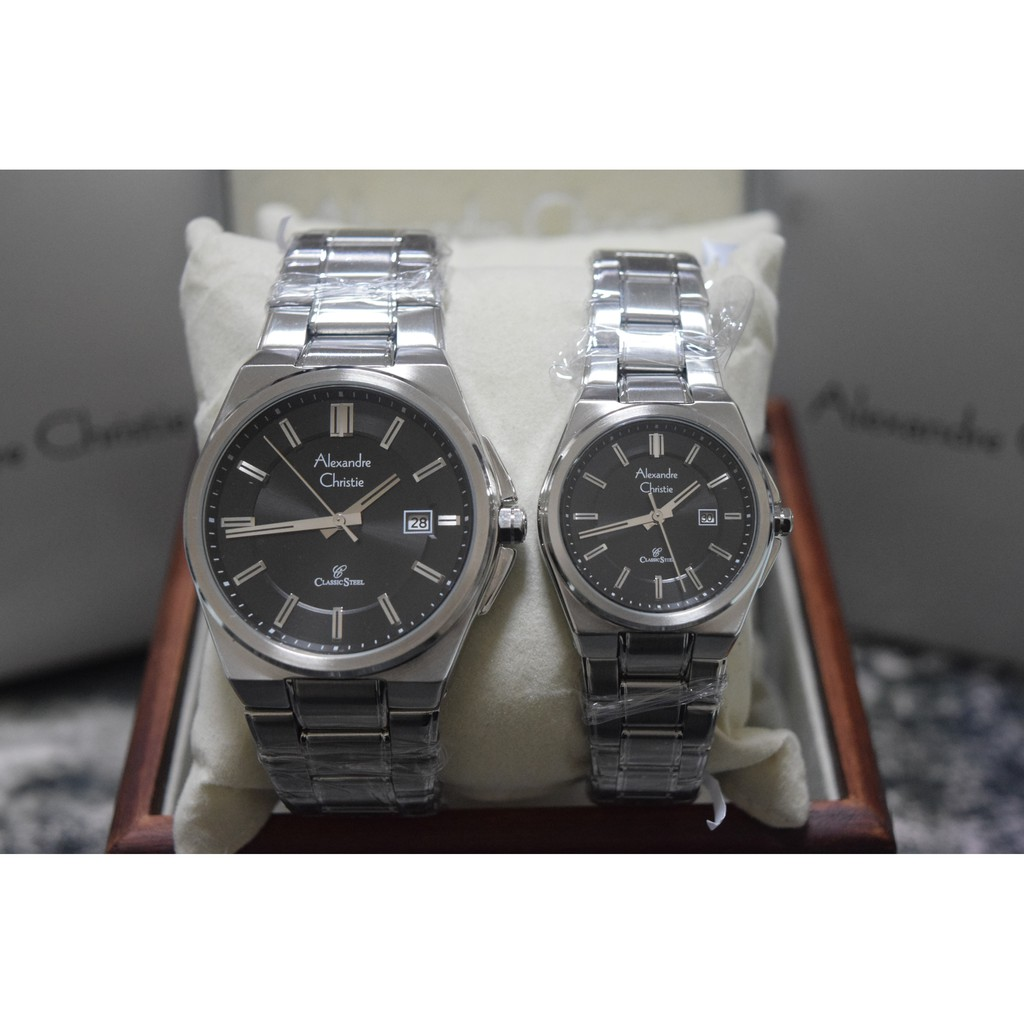 Alexandre Christie Ac 8520 Silver Plat Black Couple Edition Original Ac8499 Putih Spasang Shopee Indonesia
