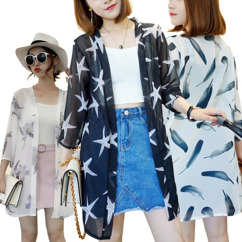 MYQUEEN Cardigan Panjang Korea Tipis Motif Print untuk Musim Panas
