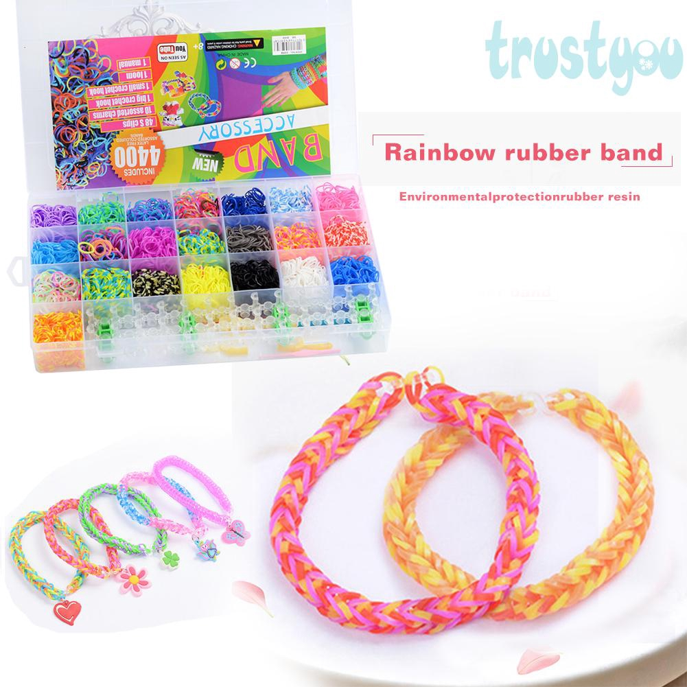 Trustyou 28 Grids Kids Hair Rubber Loom Bands Elastic Rainbow Weave Ponytail Holder Shopee Indonesia